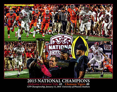 Bama Painting - Alabama Crimson Tide 1 Black Background Ncaa 2015 National Champions College Football by Rich image