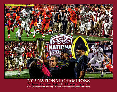 Bama Painting - Alabama Crimson Tide 1 Crimson Background Ncaa 2015 National Champions College Football by Rich image