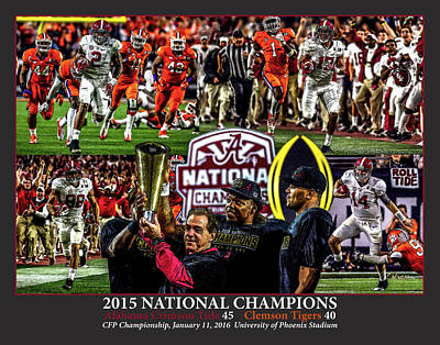 Alabama Crimson Tide 1 Dark Gray Background Ncaa 2015 National Champions College Football Art Print by Rich image