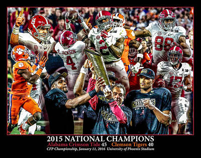 Bama Painting - Alabama Crimson Tide 2 Black Background Ncaa 2015 National Champions College Football by Rich image