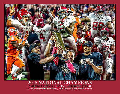 Bama Painting - Alabama Crimson Tide 2 Crimson Background Ncaa 2015 National Champions College Football by Rich image