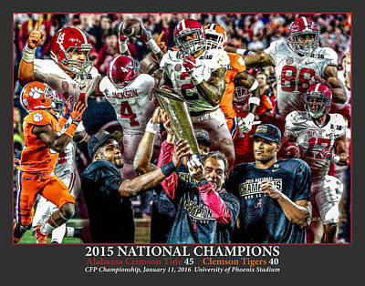 Bama Painting - Alabama Crimson Tide 2 Dark Gray Background Ncaa 2015 National Champions College Football by Rich image