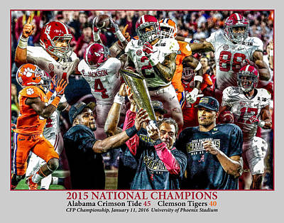 Bama Painting - Alabama Crimson Tide 2 Gray Background Ncaa 2015 National Champions College Football by Rich image