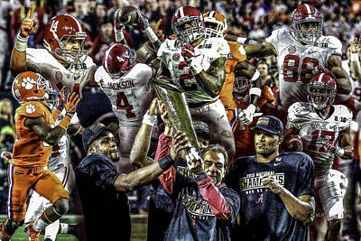 Alabama Crimson Tide 2 Ncaa 2015 National Champions College Football Art Print by Rich image