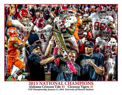 Bama Painting - Alabama Crimson Tide 2 White Background Ncaa 2015 National Champions College Football by Rich image