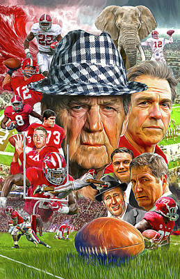 Football Paintings - Alabama Crimson Tide by Mark Spears