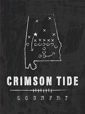 Alabama Crimson Tide / Ncaa College Football Art / Tuscaloosa Art Print