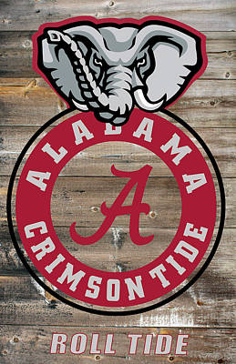 Bama Digital Art - Alabama Crimson Tide On Barnwood by Daniel Hagerman