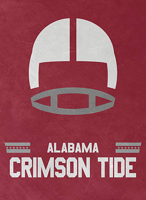 Ncaa Mixed Media - Alabama Crimson Tide Vintage Football Art by Joe Hamilton