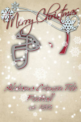Alabama Cromson Tide Christmas Card Art Print by Joe Hamilton