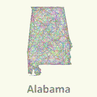 Alabama Drawing - Alabama Line Art Map by David Zydd