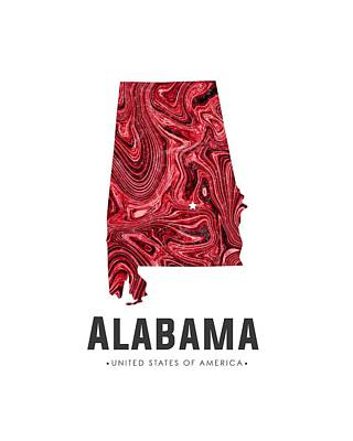 Alabama Map Art Abstract In Red Art Print