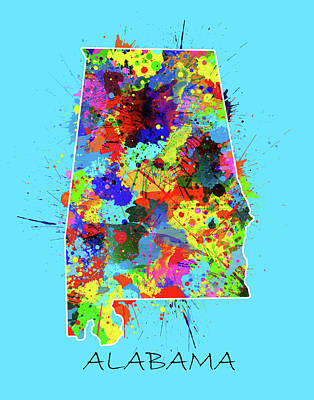 Royalty-Free and Rights-Managed Images - Alabama Map Color Splatter 2 by Bekim M