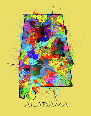 Football Royalty-Free and Rights-Managed Images - Alabama Map Color Splatter 3 by Bekim Art