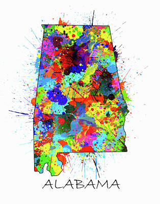 Football Royalty-Free and Rights-Managed Images - Alabama Map Color Splatter by Bekim Art