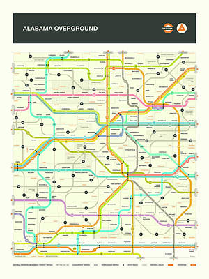 London Tube Digital Art - Alabama Map by Jazzberry Blue