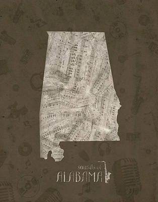 Music Royalty-Free and Rights-Managed Images - Alabama Map Music Notes 2 by Bekim Art
