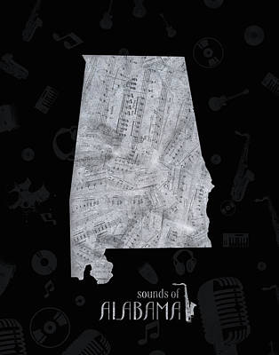 Music Royalty-Free and Rights-Managed Images - Alabama Map Music Notes 3 by Bekim Art