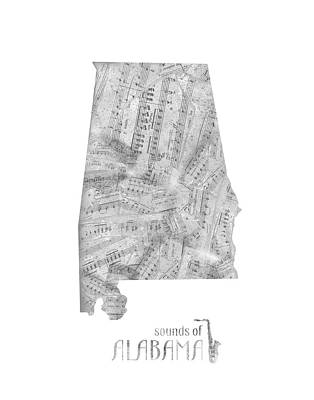 Rock And Roll Royalty-Free and Rights-Managed Images - Alabama Map Music Notes by Bekim Art