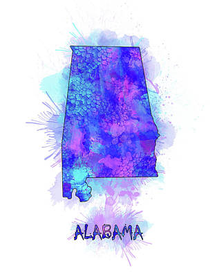 Football Royalty-Free and Rights-Managed Images - Alabama Map Watercolor 2 by Bekim Art