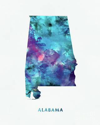 Montana State Map Mixed Media - Alabama by Monn Print