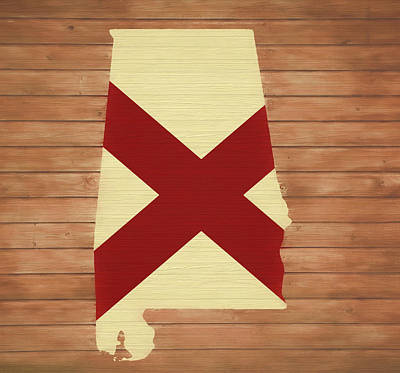 Mixed Media - Alabama Rustic Map On Wood by Dan Sproul
