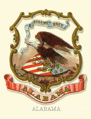 Alabama State Coat Of Arms 1876 Print by Celestial Images