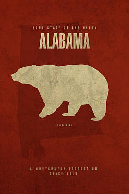 Bear Mixed Media - Alabama State Facts Minimalist Movie Poster Art by Design Turnpike