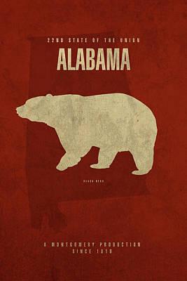 Alabama State Facts Minimalist Movie Poster Art Art Print