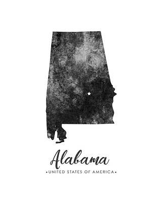 Geography Mixed Media - Alabama State Map Art - Grunge Silhouette by Studio Grafiikka
