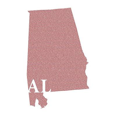 Constitution Mixed Media - Alabama State Map With Text Of Constitution by Design Turnpike