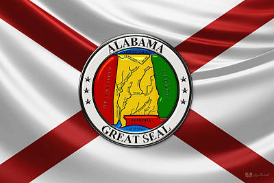 Digital Art - Alabama State Seal Over Flag by Serge Averbukh