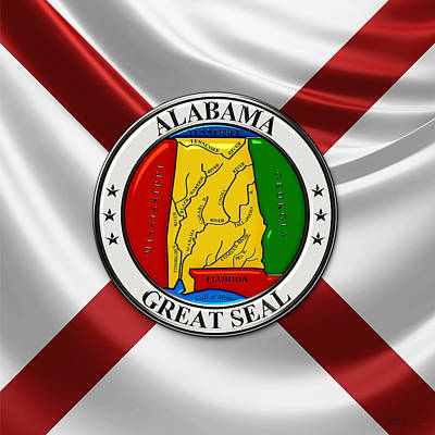 Digital Art - Alabama State Seal Over State Flag by Serge Averbukh