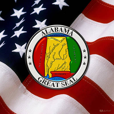 Digital Art - Alabama State Seal Over U.s. Flag by Serge Averbukh