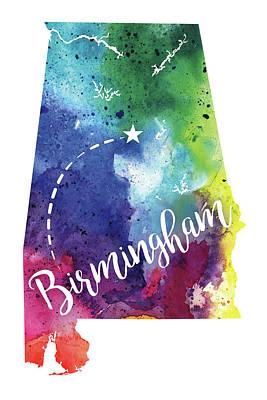 Alabama Watercolor Map - Birmingham Hand Lettering  Original by Andrea Hill