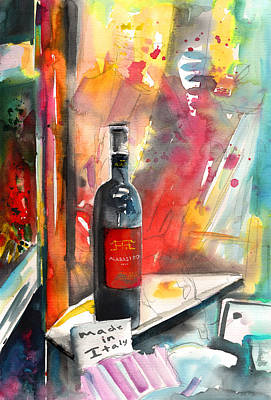 Red Wine Drawing - Alabastro Wine From Italy by Miki De Goodaboom