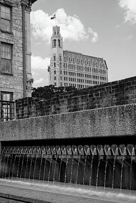 Photograph - Alamo City Fountains - San Antonio In Black And White by Gregory Ballos