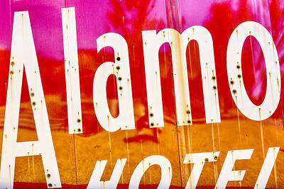 The Alamo Wall Art - Photograph - Alamo Hotel Sign Abstract by Stephen Stookey