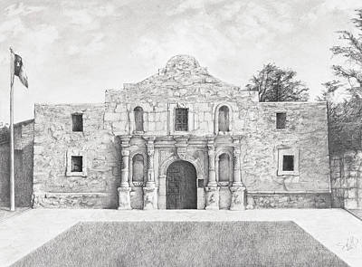 Landmarks Drawing - Alamo by Sam Lathrop