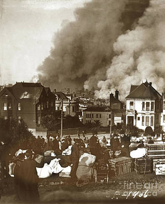 Photograph - Alamo Square Refugees Gathered To Watch The City's Destruction.  by California Views Mr Pat Hathaway Archives