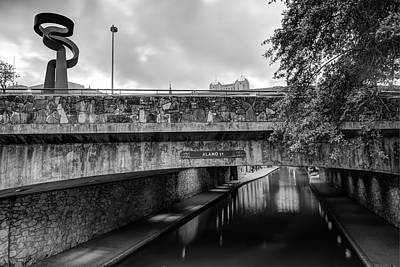 Photograph - Alamo Street Over The Riverwalk - San Antonio - Black And White by Gregory Ballos
