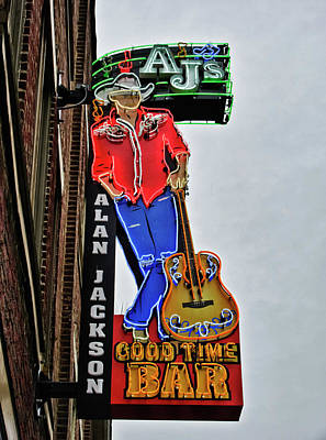 Photograph - Alan Jackson Neon Sign by Tony Grider