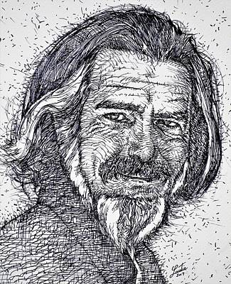 Drawing - Alan Watts - Ink Portrait by Fabrizio Cassetta