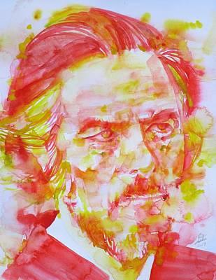 Painting - Alan Watts - Watercolor Portrait.5 by Fabrizio Cassetta