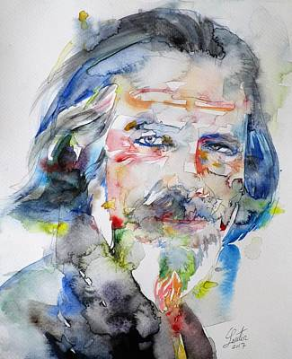 Painting - Alan Watts - Watercolor Portrait.6 by Fabrizio Cassetta