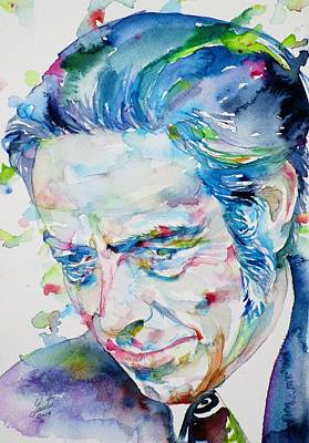 Painting - Alan Watts - Watercolor Portrait.7 by Fabrizio Cassetta