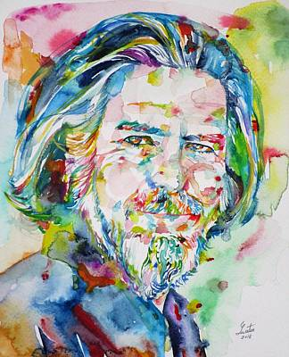 Painting - Alan Watts - Watercolor Portrait.8 by Fabrizio Cassetta