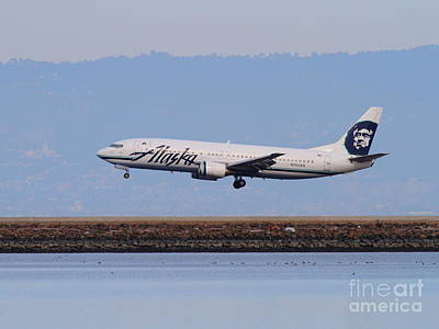 Alaska Airlines Jet Airplane At San Francisco International Airport Sfo . 7d12232 Print by Wingsdomain Art and Photography