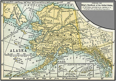 Photograph - Alaska Antique Map 1891 by Phil Cardamone