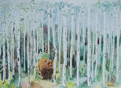Alaska -  Grizzly In Woods Art Print